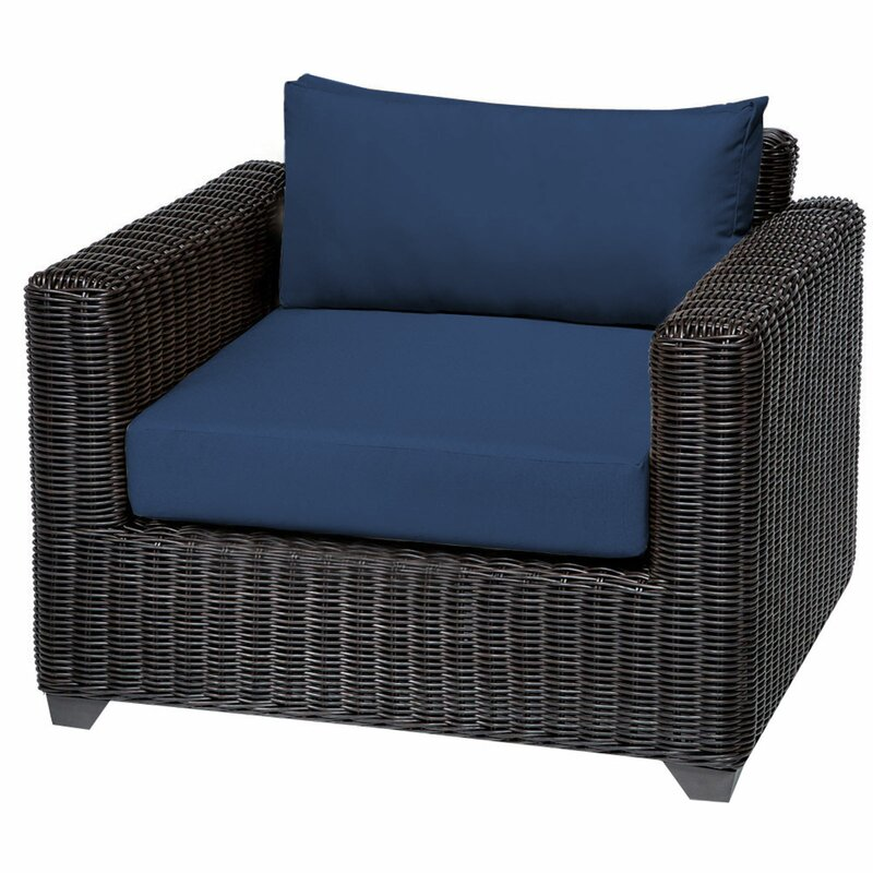 Sol 72 Outdoor  Fairfield Patio Chair with Cushions Cushion Color: Navy