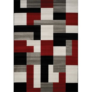 Bargain Absecon Blocks Red/Gray Area Rug By Wade Logan
