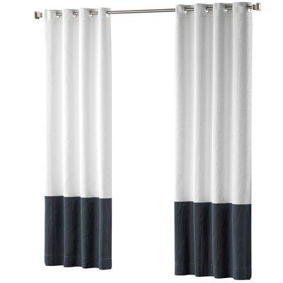 Mercury Row Claus Color Block Cotton Blend Striped Blackout Thermal Grommet Curtain Panels Color: Navy