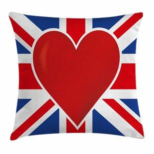 Union Jack Flag Big Heart Square Pillow Cover