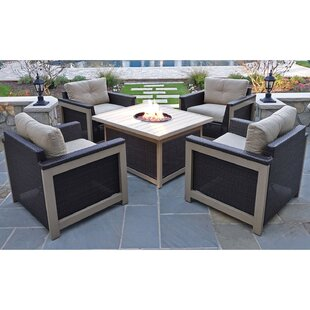 Longshore Tides Newstead 5 Piece Conversation Set with Cushions