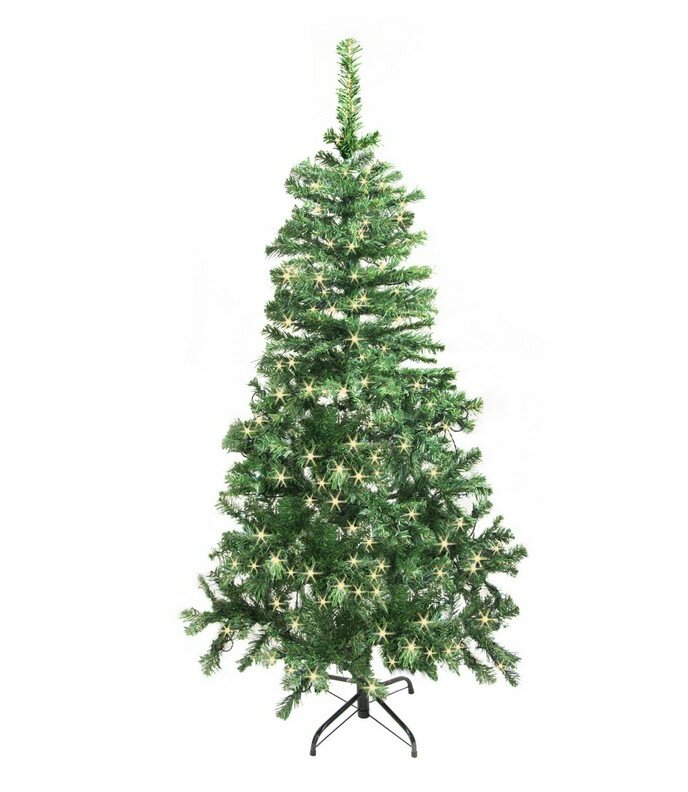 65 green pine artificial christmas tree with 250 soft white lights with stand