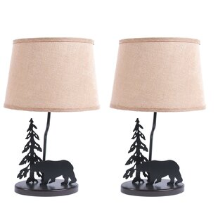 Metal Burlap Shade Bear 18.5 Table Lamp (Set of 2)