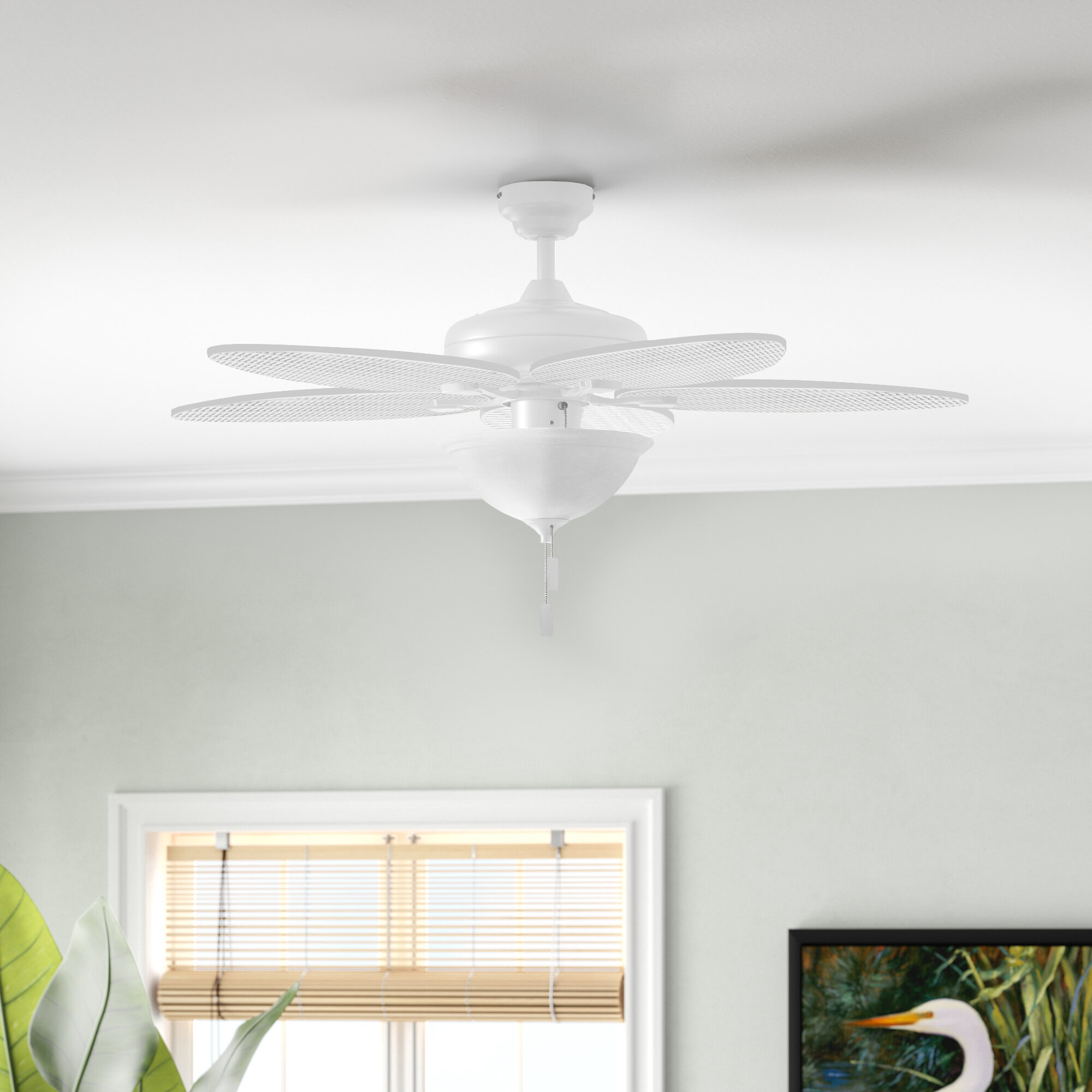 Bay Isle Home 52 Mccall 5 Blade Leaf Blade Ceiling Fan With Pull Chain And Light Kit Included Reviews Wayfair