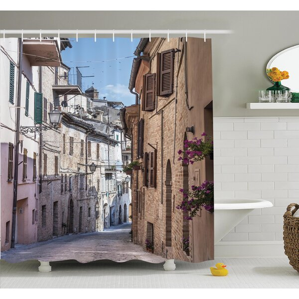 Ambesonne Italian Old Town Street Shower Curtain Set