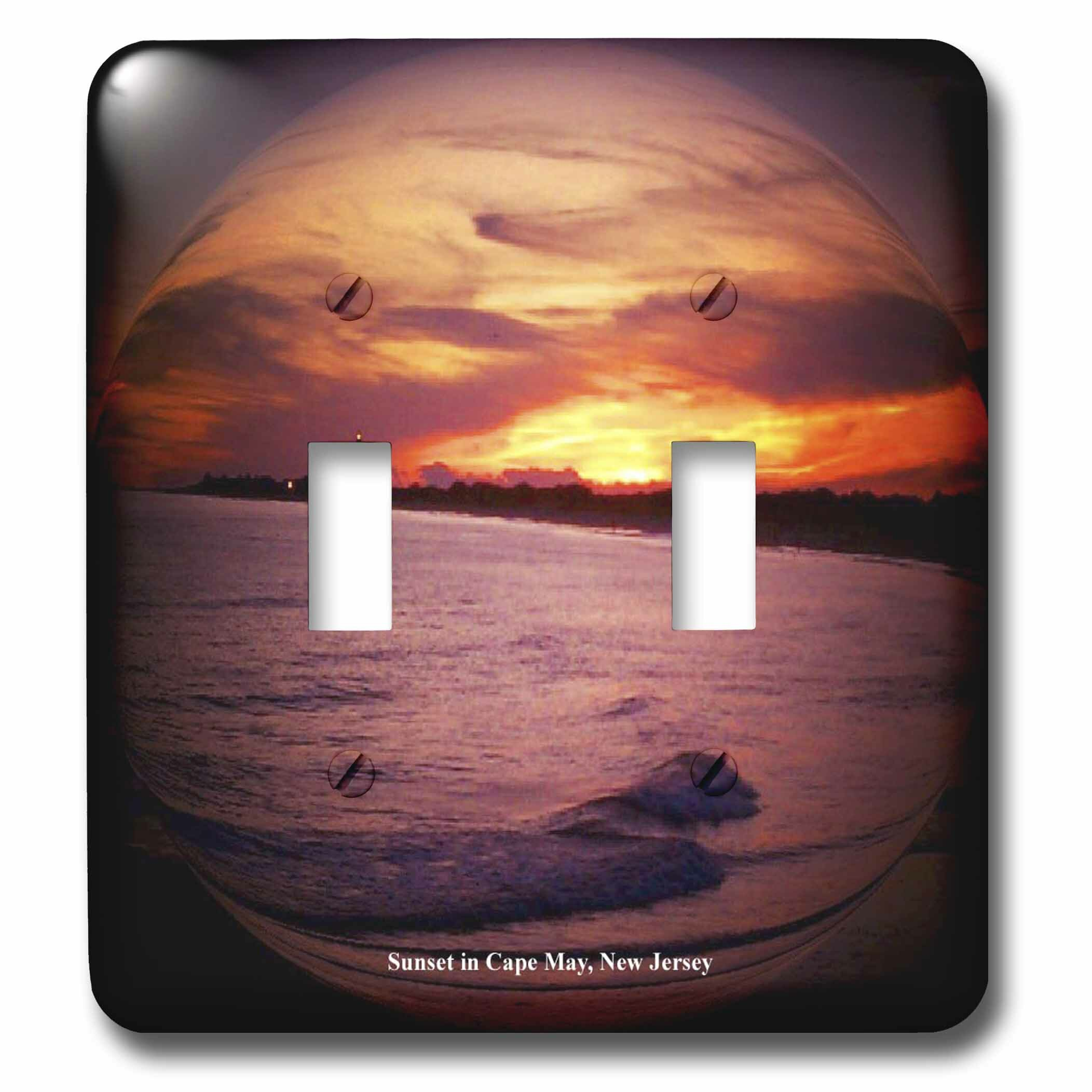 3drose Sunset In Cape May 2 Gang Toggle Light Switch Wall Plate