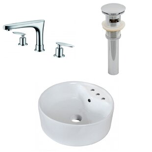 Price comparison Ceramic Rectangular Vessel Bathroom Sink with Faucet and Overflow By American Imaginations