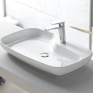 CeraStyle by Nameeks Nova Ceramic Rectangular Vessel Bathroom Sink with Overflow