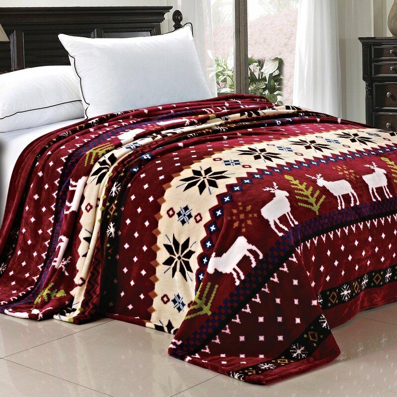 Loon Peak Jenkins Christmas Snowflake Deer Fleece Throw Blanket ...