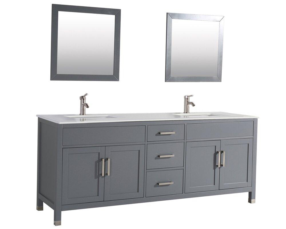 """Custom Bathroom Vanities West Palm Beach brayden studio denault 84"""" double sink bathroom vanity set"""