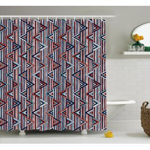 Marianne Tribal Striped African Abstract Ethnic Pattern With Creative Triangles Art Single Shower Curtain