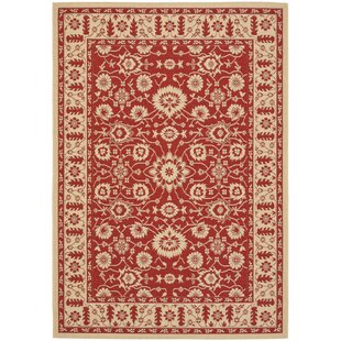 Short Red / Creme Indoor/Outdoor Sisal Area Rug