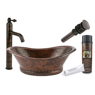 Premier Copper Products Metal Oval Vessel Bathroom Sink with Faucet