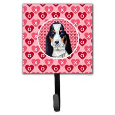 Basset Hound Valentine's Love and Hearts Leash Holder and Wall Hook by Caroline's Treasures