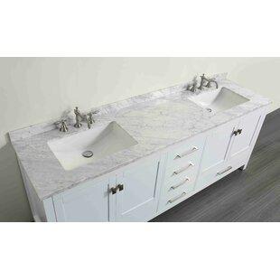 Compare Pichardo Transitional 84 Double Bathroom Vanity Set with Carrera Countertop ByBrayden Studio