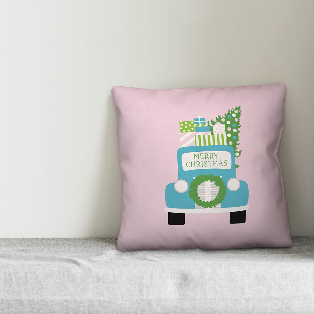 The Holiday Aisle Dorcia Bright Merry Christmas Truck Throw Pillow Wayfair