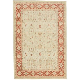Craigywarren Hand Knotted Wool Beige/Red Rug by Rosalind Wheeler