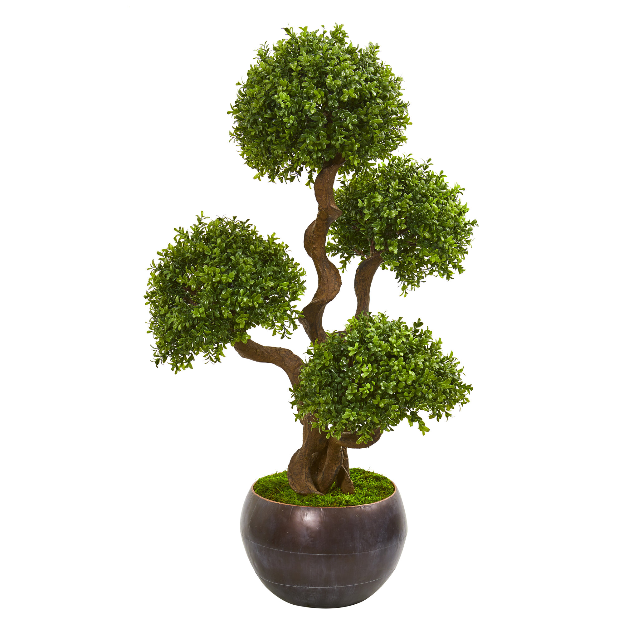 Canora Grey Artificial Four Ball Boxwood Topiary In Decorative Decorative Vase Wayfair