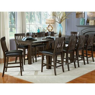 Alder 11 Piece Solid Wood Dining Set Loon Peak