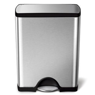 13 Gallon Rectangular Step Trash Can, Brushed Stainless Steel