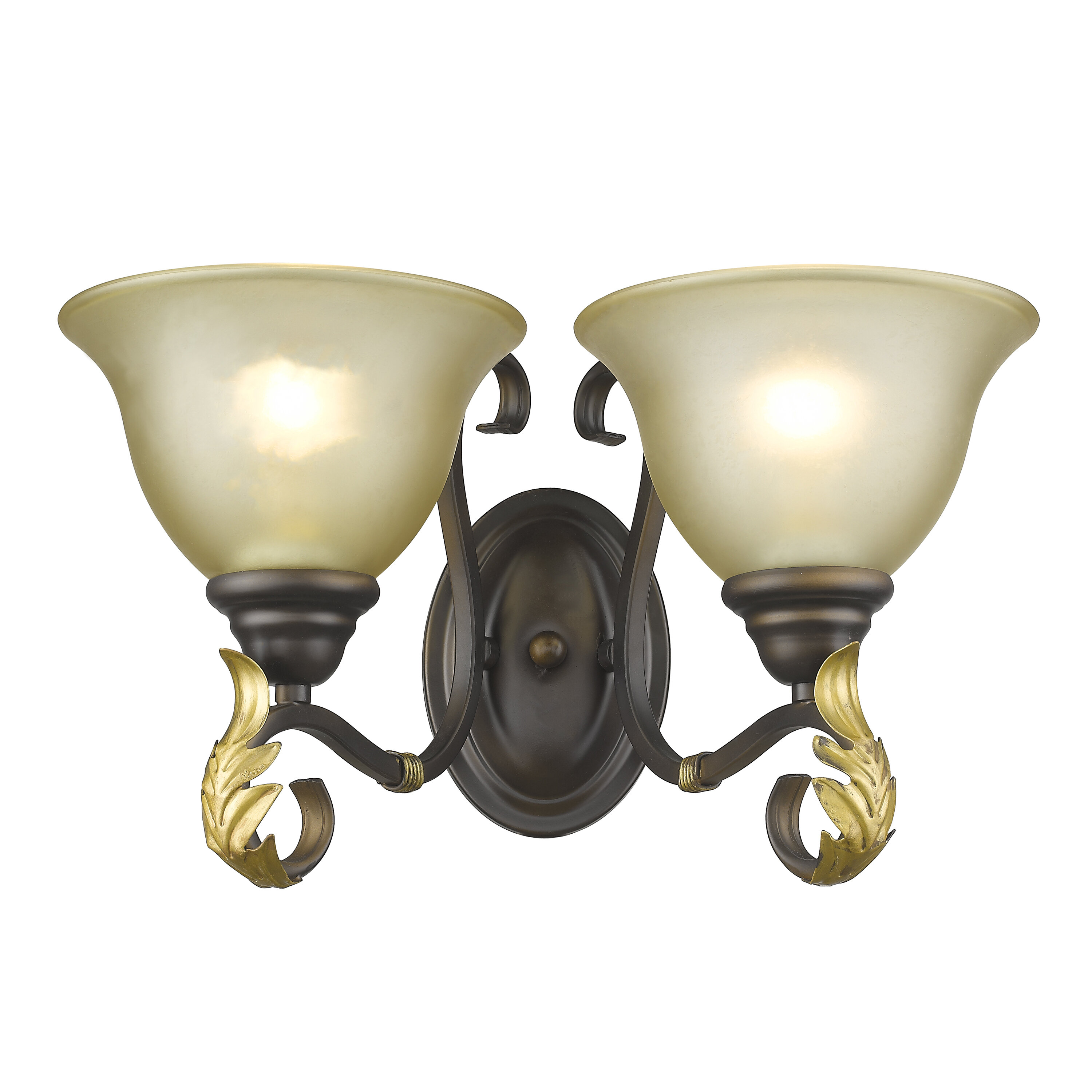 One Light Traditional Rubbed Bronze Finish Tea Stained Glass Hallway Wall Sconce