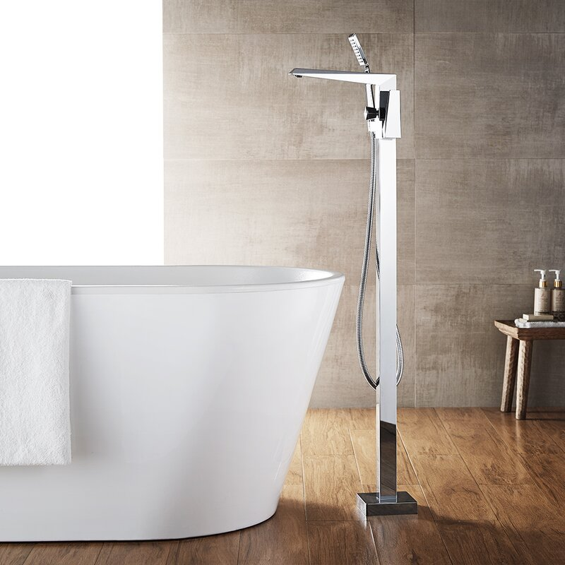 Cypress Single Handle Floor Mount Freestanding Tub Filler With Hand Shower