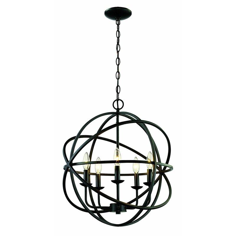 Laurel Foundry Modern Farmhouse Hankinson 5 Light Globe Chandelier
