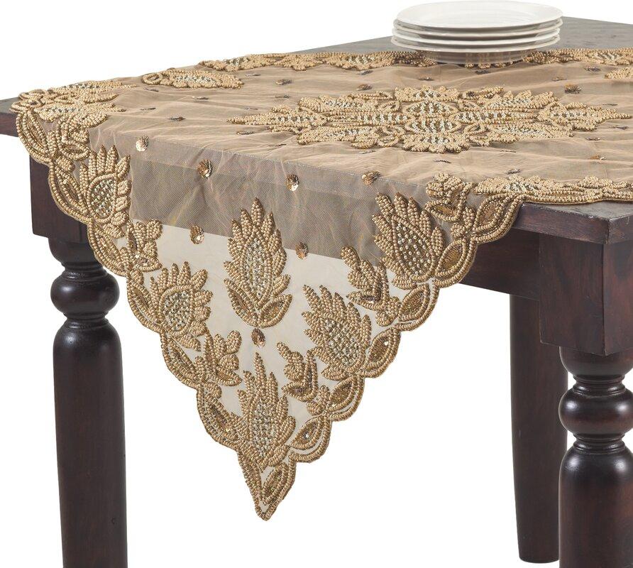 Elegant Lakshmi Hand Beaded Tablecloth