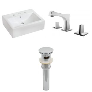 Affordable Ceramic 20 Wall-Mount Bathroom Sink with Faucet and Overflow By Royal Purple Bath Kitchen