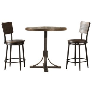 Gracie Oaks Putney 3 Piece Counter Height Breakfast Nook Dining Set