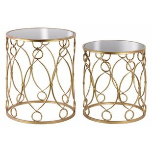 Nannore 2 Pieces Nesting Tables with Mirror Top Ring and Loop Design