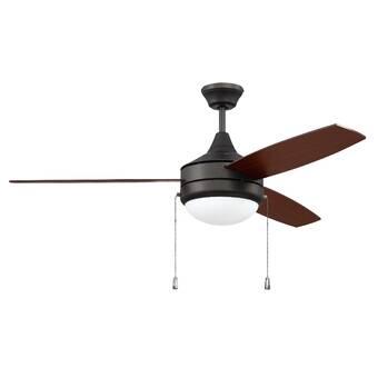 Mercer41 52 Lichtenstein 5 Blade Flush Mount Ceiling Fan With Pull Chain And Light Kit Included Wayfair