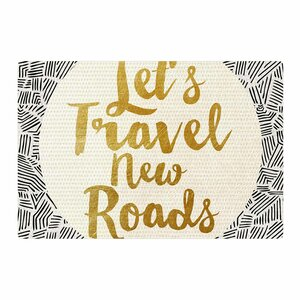 Pom Graphic Design Let's Travel New Roads Gold/Black Area Rug