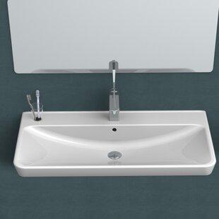 CeraStyle by Nameeks Belo Ceramic Rectangular Drop-In Bathroom Sink with Overflow