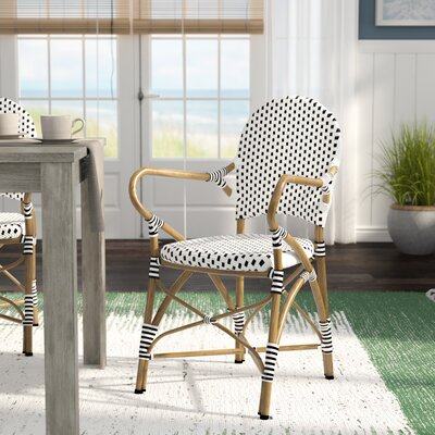 Wondrous Lark Manor Papke Stacking Patio Dining Chair Fabric Black White Dailytribune Chair Design For Home Dailytribuneorg