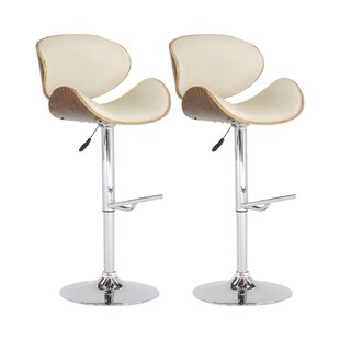Rocco Height Adjustable Swivel Bar Stool (Set Of 2) By Mercury Row