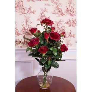Red silk poppies wayfair rose bush silk flower arrangement in red with vase mightylinksfo