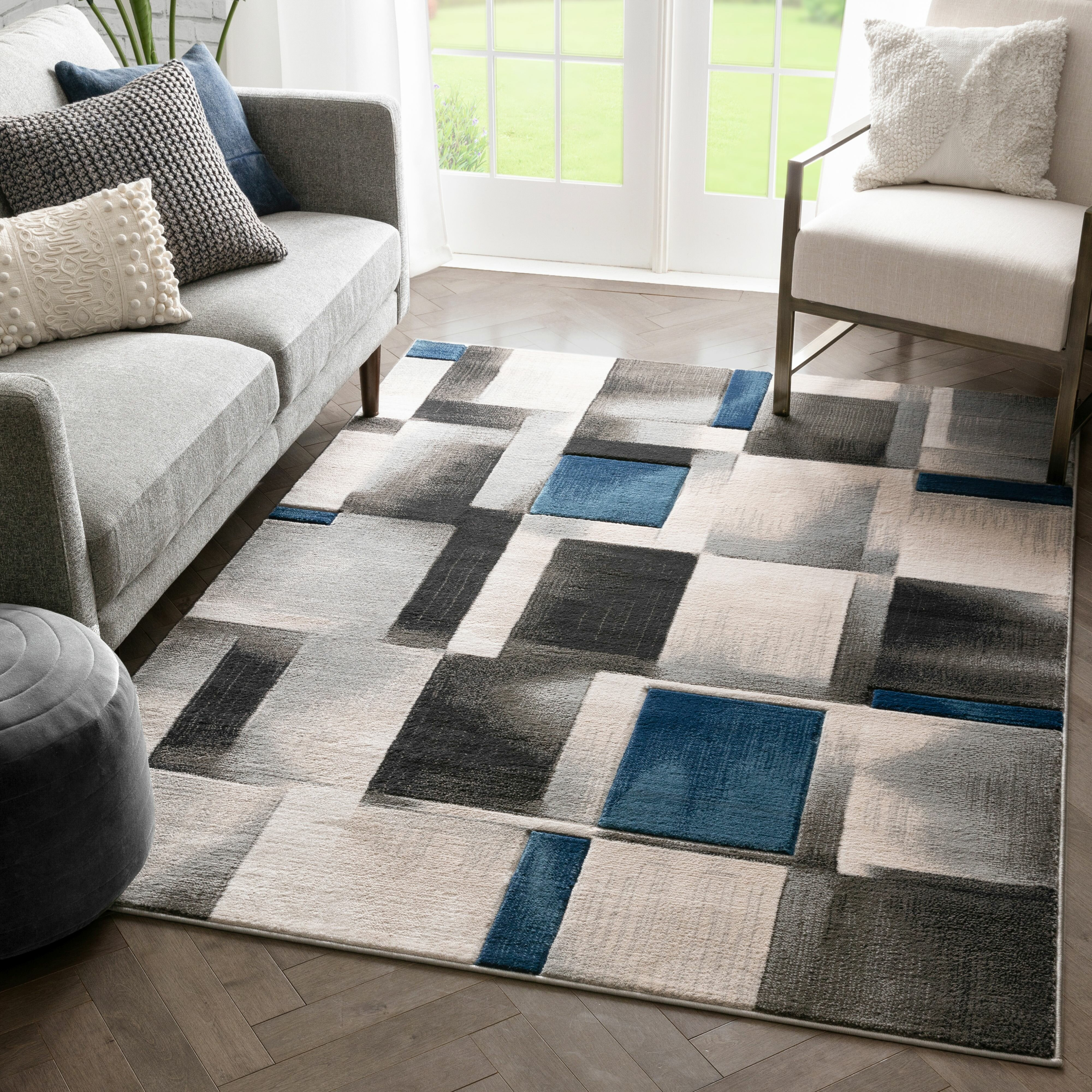 Well Woven Louisa Power Loom Blue Gray Black Rug Reviews Wayfair