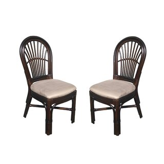 Alim Traditional Rattan Upholstered Dining Chair (Set of 2) by Astoria Grand SKU:BB414726 Details