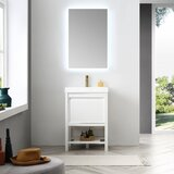 Marlie 24 Single Bathroom Vanity Set with Aluminum Framed LED Mirror by Everly Quinn