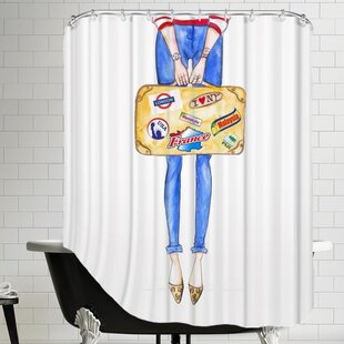 House of Hampton Alison B Travel Suitcase Stickers Shower Curtain
