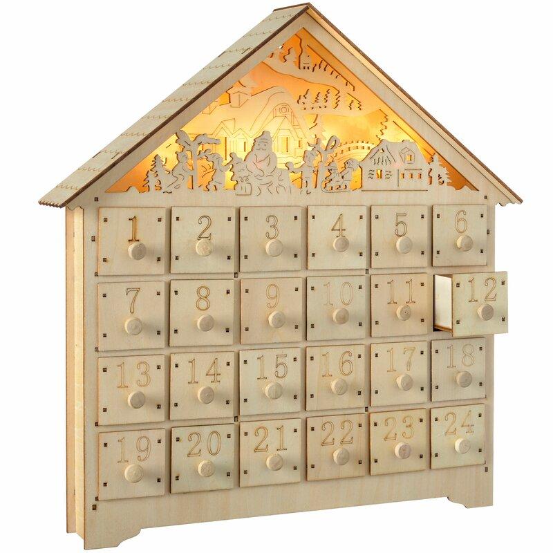 The Seasonal Aisle Pre Lit Wooden Village Scene Advent Calendar