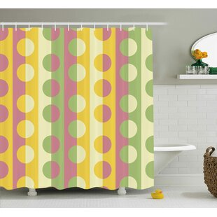 Chrystin Abstract Retro Textured Circle Geometric Shapes Over Striped Grid Background Soft Design Single Shower Curtain