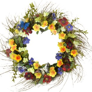 Silk flowers teal wayfair 22 colorful trumpet silk flower door wreath mightylinksfo
