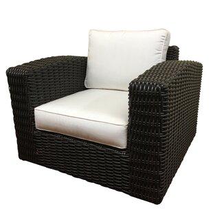 Monaco Outdoor Wicker Swivel Arm Chair with Cushion by ElanaMar Designs