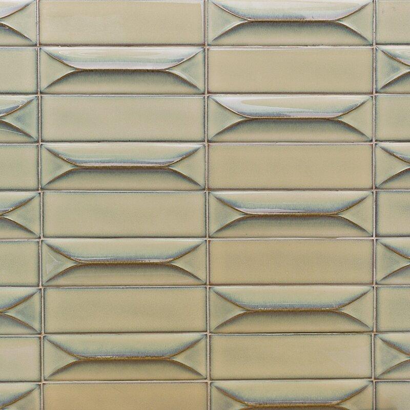 Splashback Tile Vintage 3d 3 X 9 Ceramic Subway Tile In Mocha