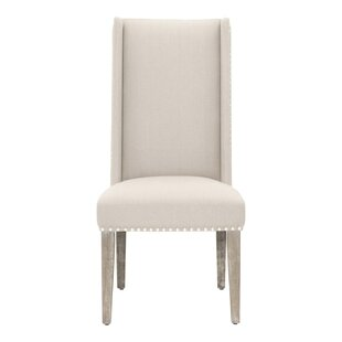 Yolanda Acacia Wood Linen Upholstered Dining Chair (Set of 2) One Allium Way