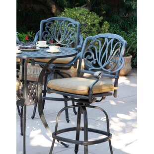 Lebanon Patio Swivel Bar Stool with Cushion (Set of 4) (Set of 4)