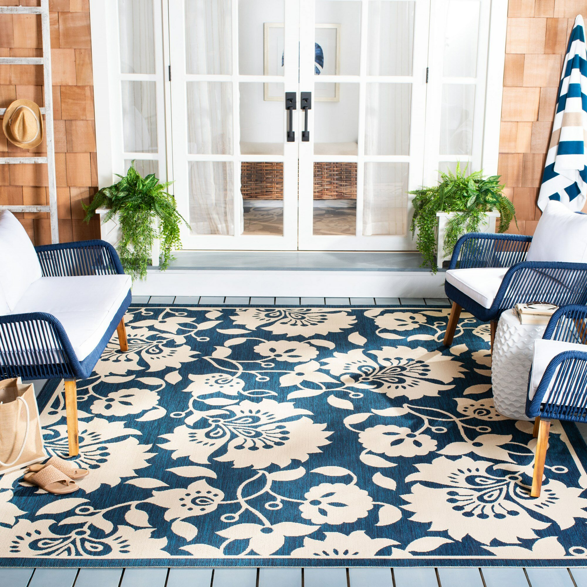 Red Barrel Studio Anoka Floral Navy Beige Indoor Outdoor Area Rug Wayfair