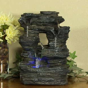 Fiberglass 5 Stream Rock Cavern Tabletop Fountain With Light. By SunnyDaze  Decor